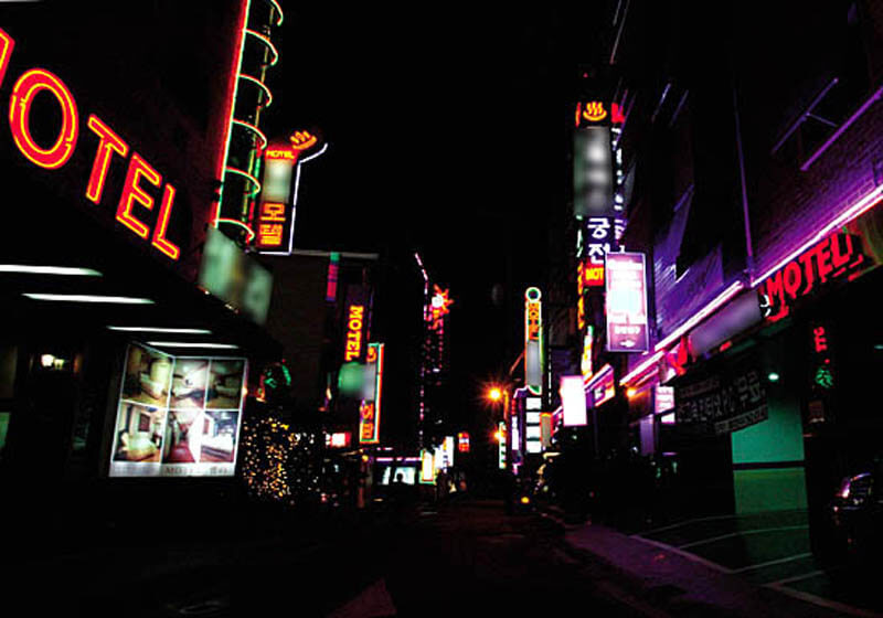 Love motel street in Sinchon