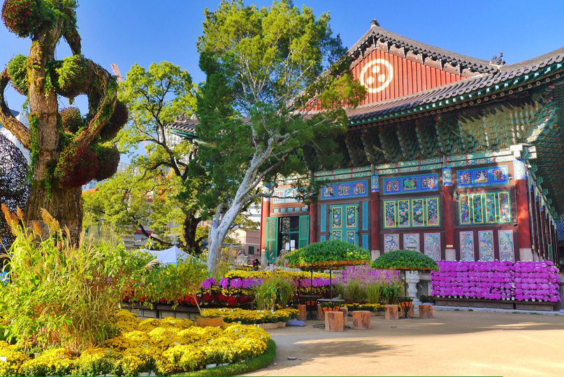Insadong is within walking distance to several of Seoul's major attractions: Jogyesa Temple (pictured), Bukchon Hanok Village, Gyeongbokgung Palace, Changdeokgung Palace, Myeondong, Gwanghwamun Square, etc.