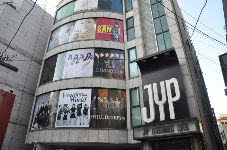 The area is headquarters to two of Korea's biggest Kpop companies: SM Town and JYP. Fans wait patiently to peep their favorite stars and score exclusive paraphernalia.